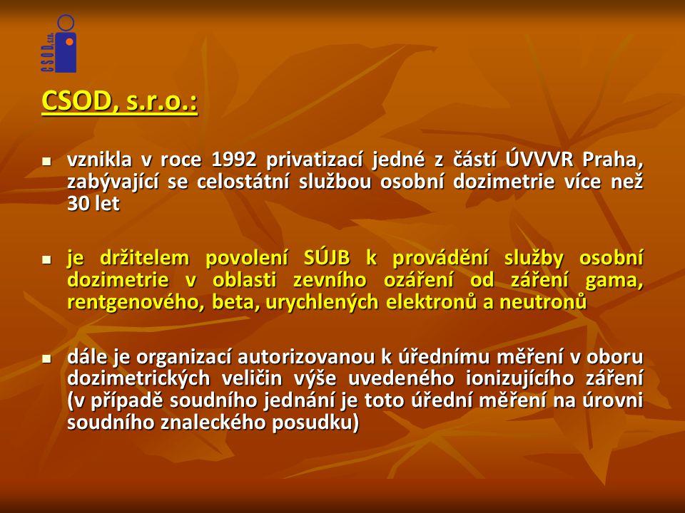 CSOD, s.r.o.:  vznikla v roce 1992 privatizací jedné z částí ÚVVVR Praha, zabývající se celostátní službou osobní dozimetrie více než 30 let  je drž