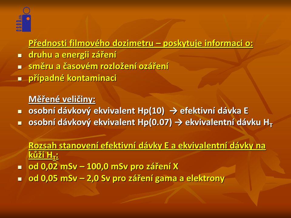 Přednosti filmového dozimetru – poskytuje informaci o:  druhu a energii záření  směru a časovém rozložení ozáření  případné kontaminaci Měřené veli