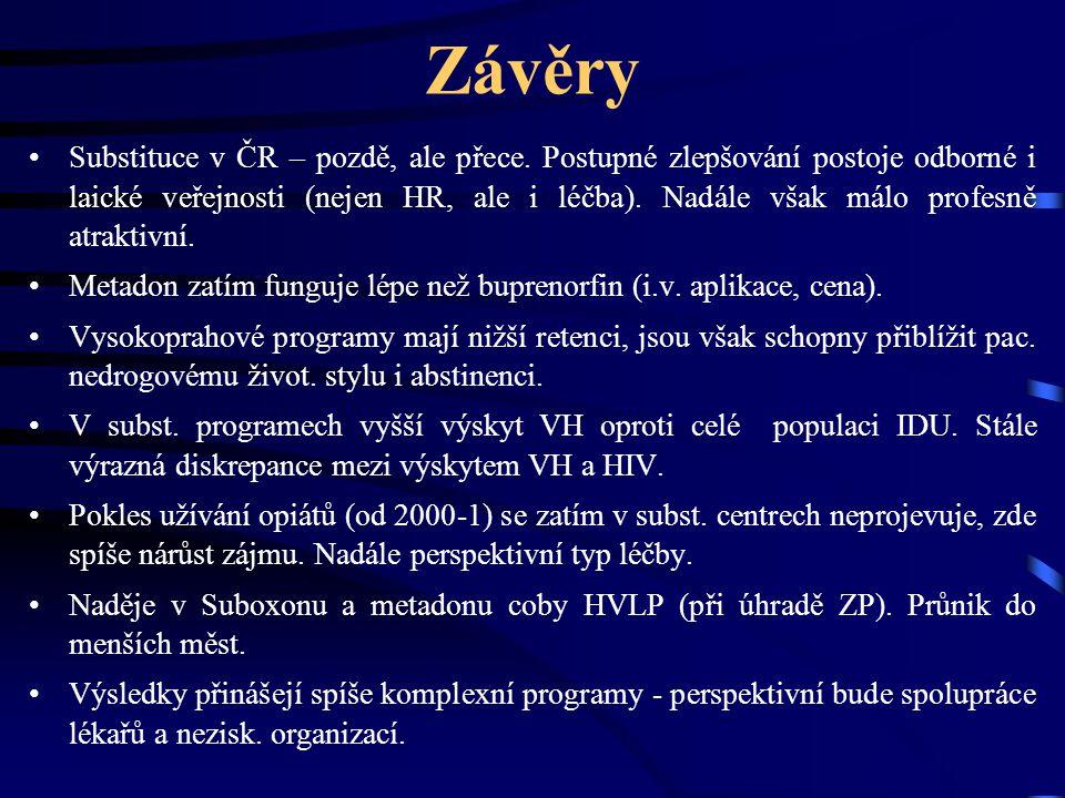 Závěry •Substituce v ČR – pozdě, ale přece. Postupné zlepšování postoje odborné i laické veřejnosti (nejen HR, ale i léčba). Nadále však málo profesně