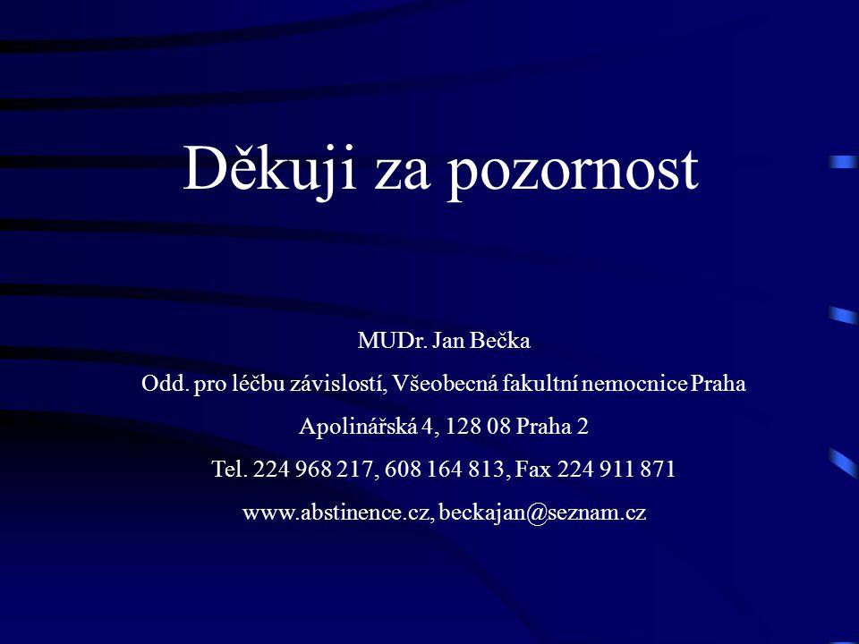 Děkuji za pozornost MUDr. Jan Bečka Odd. pro léčbu závislostí, Všeobecná fakultní nemocnice Praha Apolinářská 4, 128 08 Praha 2 Tel. 224 968 217, 608