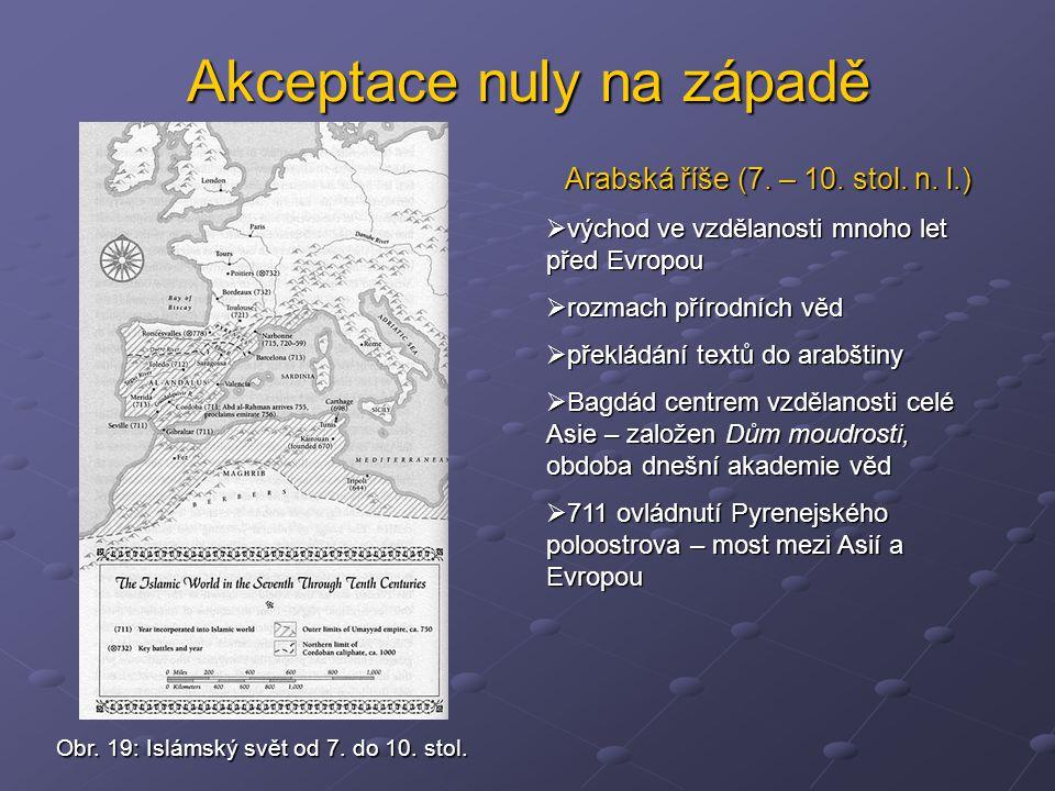 Akceptace nuly na západě Arabská říše (7. – 10. stol. n. l.)  východ ve vzdělanosti mnoho let před Evropou  rozmach přírodních věd  překládání text