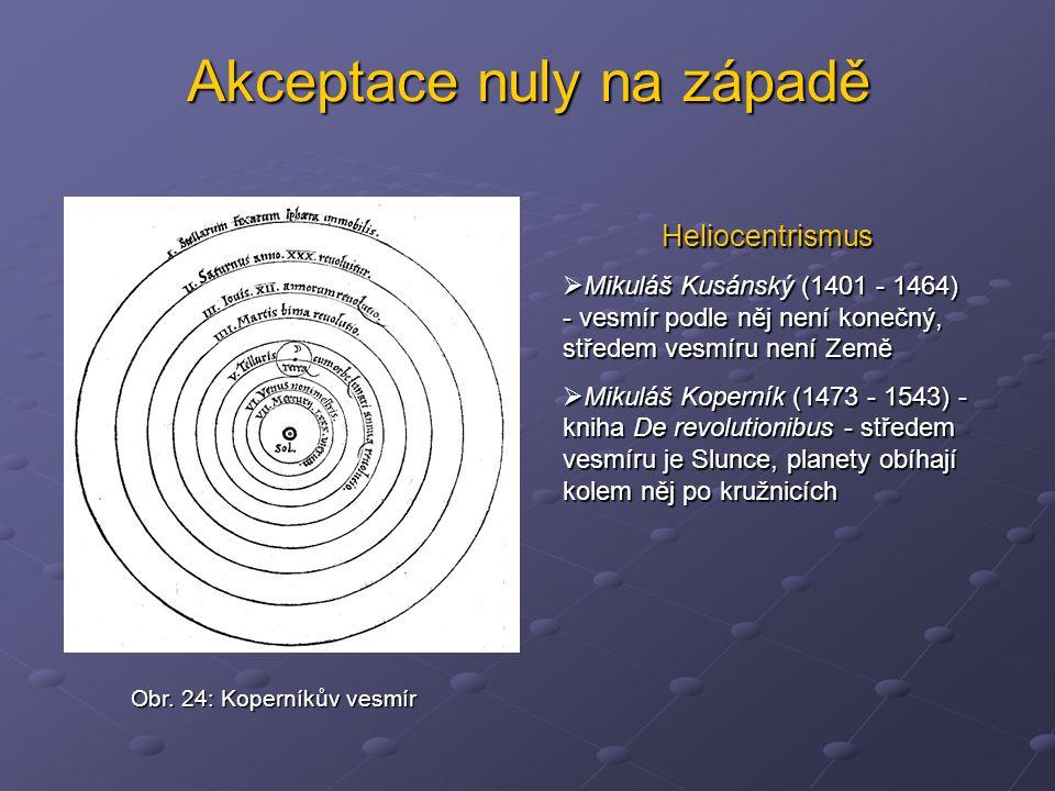 Akceptace nuly na západě Heliocentrismus  Mikuláš Kusánský (1401 - 1464) - vesmír podle něj není konečný, středem vesmíru není Země  Mikuláš Koperní