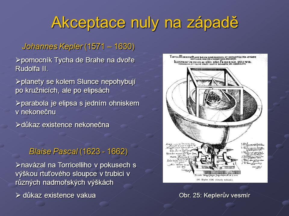 Akceptace nuly na západě Johannes Kepler (1571 – 1630)  pomocník Tycha de Brahe na dvoře Rudolfa II.  planety se kolem Slunce nepohybují po kružnicí