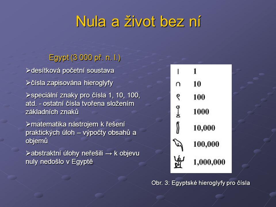 Nula a život bez ní Egypt (3 000 př. n. l.)  desítková početní soustava  čísla zapisována hieroglyfy  speciální znaky pro čísla 1, 10, 100, atd. -