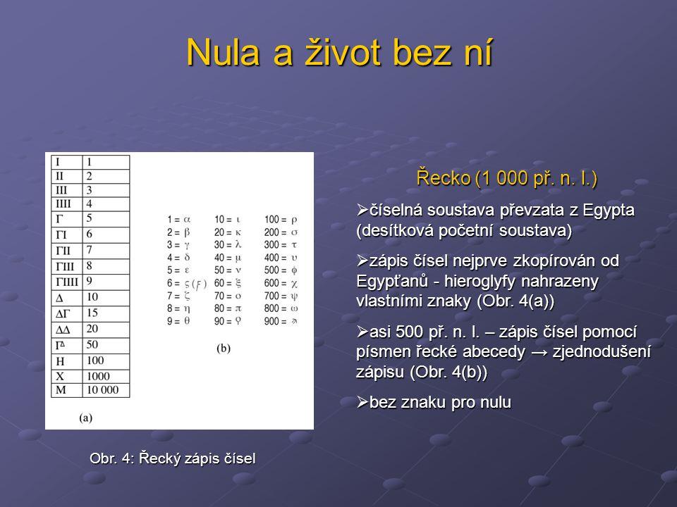 Nula a život bez ní Řecko (1 000 př. n. l.)  číselná soustava převzata z Egypta (desítková početní soustava)  zápis čísel nejprve zkopírován od Egyp