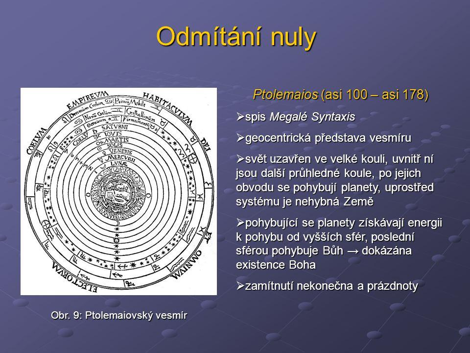 Odmítání nuly Ptolemaios (asi 100 – asi 178)  spis Megalé Syntaxis  geocentrická představa vesmíru  svět uzavřen ve velké kouli, uvnitř ní jsou dal