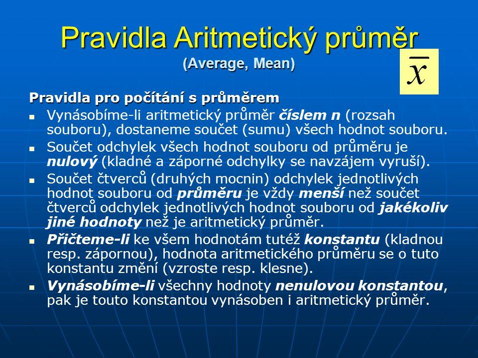 Pravidla Aritmetický průměr (Average, Mean) Pravidla pro počítání s průměrem   Vynásobíme-li aritmetický průměr číslem n (rozsah souboru), dostaneme