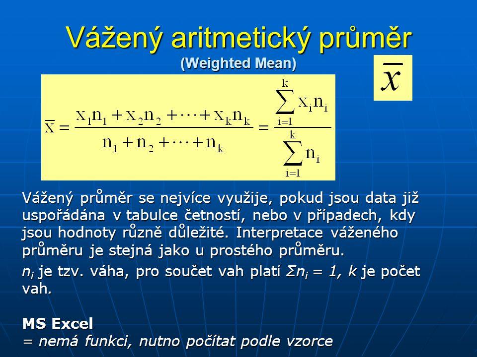 Vážený aritmetický průměr (Weighted Mean) Vážený průměr se nejvíce využije, pokud jsou data již uspořádána v tabulce četností, nebo v případech, kdy j