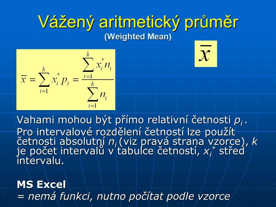 Vážený aritmetický průměr (Weighted Mean) Vahami mohou být přímo relativní četnosti p i. Pro intervalové rozdělení četností lze použít četnosti absolu