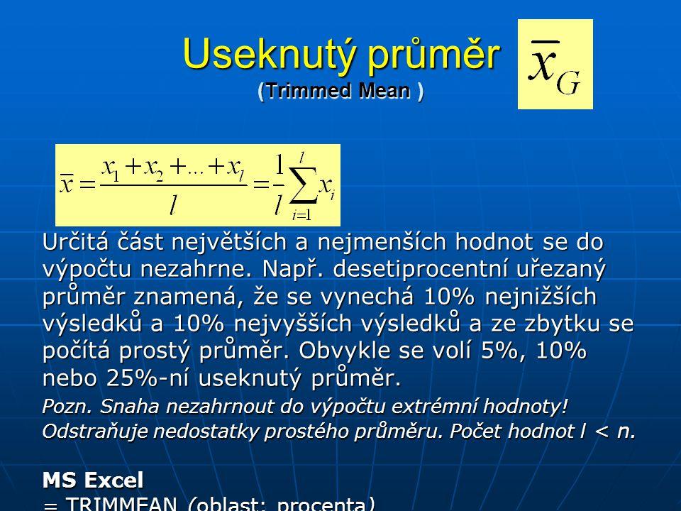 Useknutý průměr (Trimmed Mean ) Určitá část největších a nejmenších hodnot se do výpočtu nezahrne. Např. desetiprocentní uřezaný průměr znamená, že se