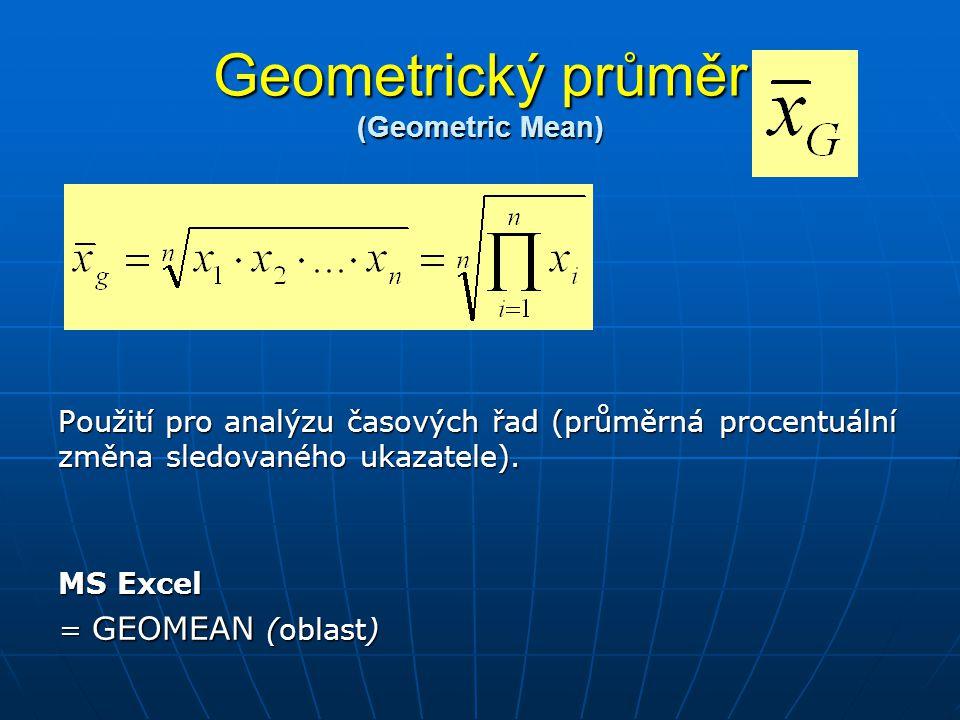 Geometrický průměr (Geometric Mean) Použití pro analýzu časových řad (průměrná procentuální změna sledovaného ukazatele). MS Excel = GEOMEAN (oblast)
