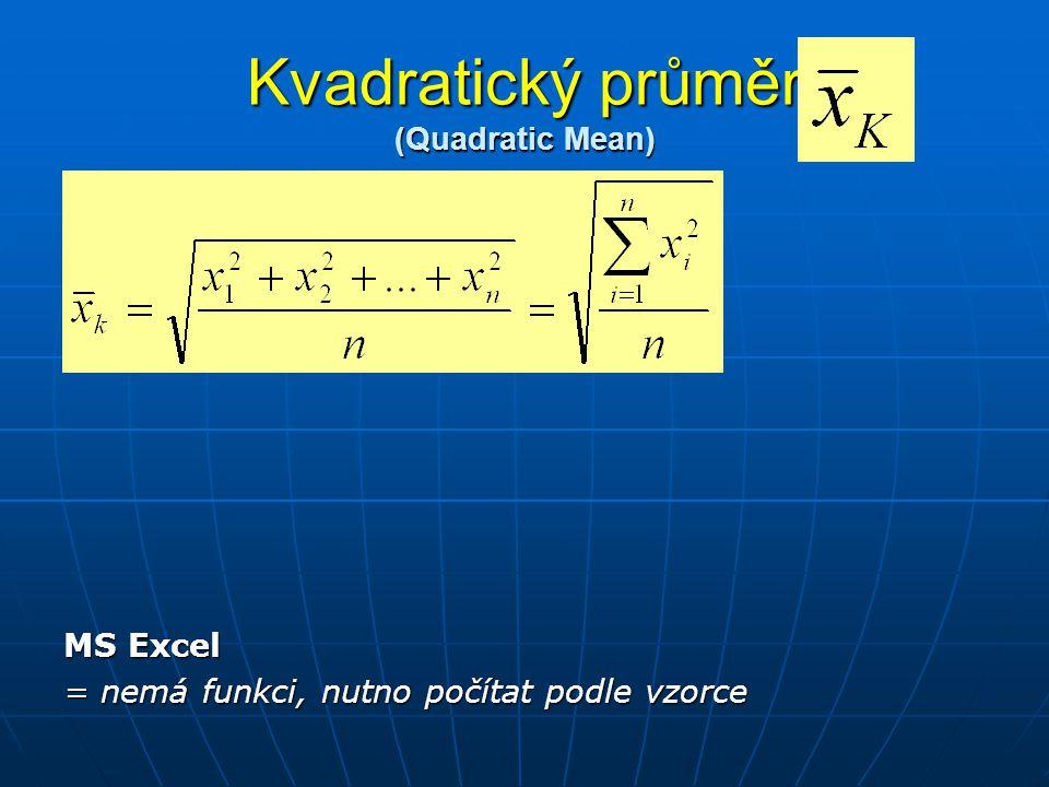 Kvadratický průměr (Quadratic Mean) MS Excel = nemá funkci, nutno počítat podle vzorce