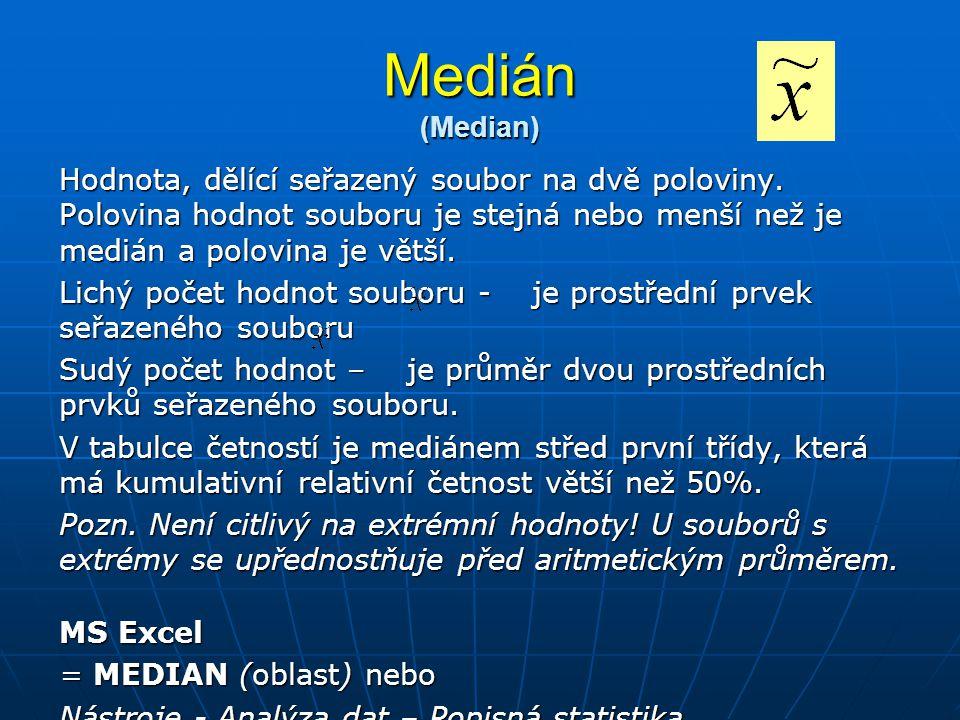 Medián (Median) Hodnota, dělící seřazený soubor na dvě poloviny. Polovina hodnot souboru je stejná nebo menší než je medián a polovina je větší. Lichý