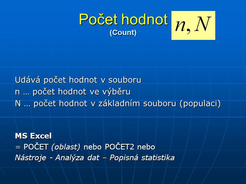 Počet hodnot (Count) Udává počet hodnot v souboru n … počet hodnot ve výběru N … počet hodnot v základním souboru (populaci) MS Excel = POČET (oblast)