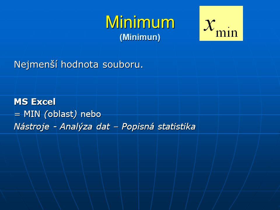 Minimum (Minimun) Nejmenší hodnota souboru. MS Excel = MIN (oblast) nebo Nástroje - Analýza dat – Popisná statistika