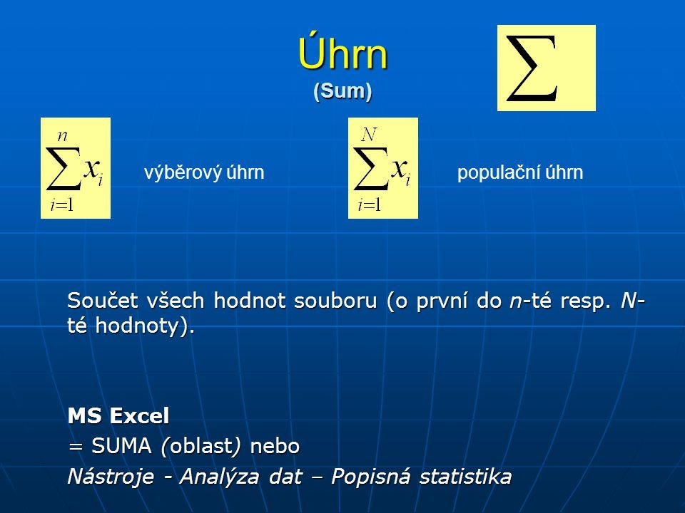 Úhrn (Sum) Součet všech hodnot souboru (o první do n-té resp. N- té hodnoty). MS Excel = SUMA (oblast) nebo Nástroje - Analýza dat – Popisná statistik