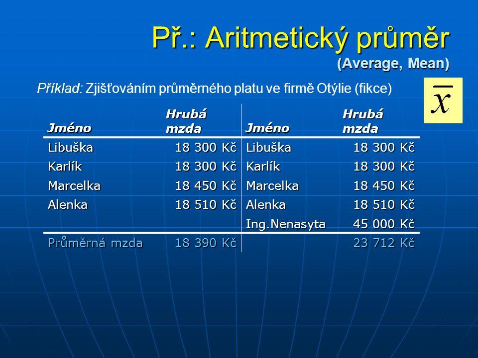 Př.: Aritmetický průměr (Average, Mean) Jméno Hrubá mzda Jméno Libuška 18 300 Kč Libuška Karlík Karlík Marcelka 18 450 Kč Marcelka Alenka 18 510 Kč Al