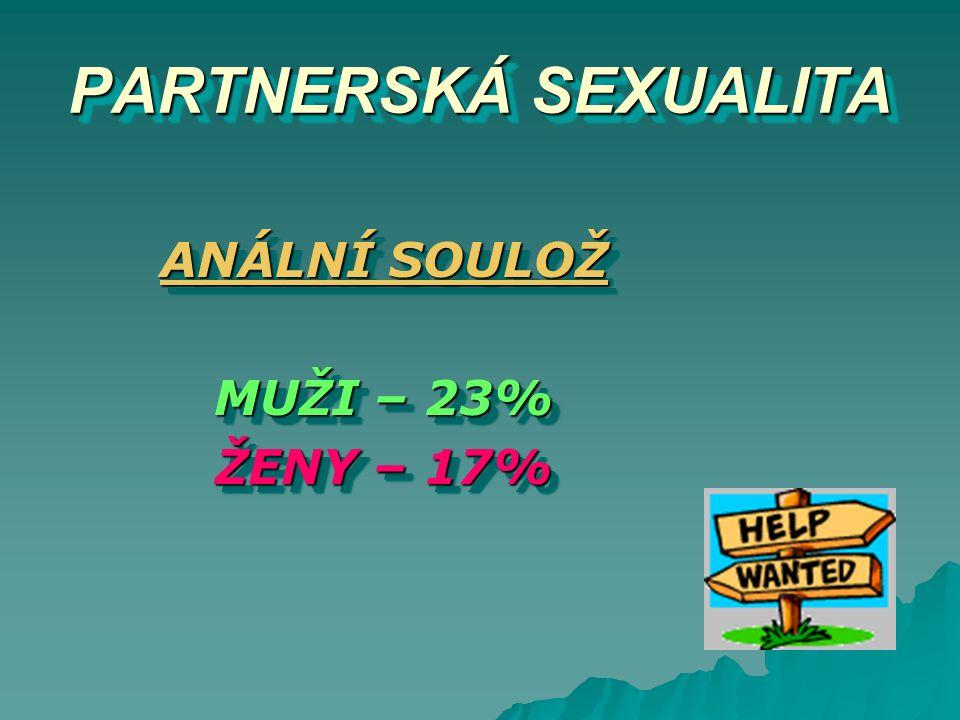 PARTNERSKÁ SEXUALITA PARTNERSKÁ SEXUALITA ANÁLNÍ SOULOŽ MUŽI – 23% ŽENY – 17% ANÁLNÍ SOULOŽ MUŽI – 23% ŽENY – 17%