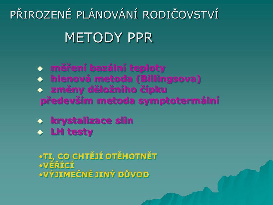 PŘIROZENÉ PLÁNOVÁNÍ RODIČOVSTVÍ METODY PPR   měření bazální teploty   hlenová metoda (Billingsova)   změny děložního čípku především metoda symp
