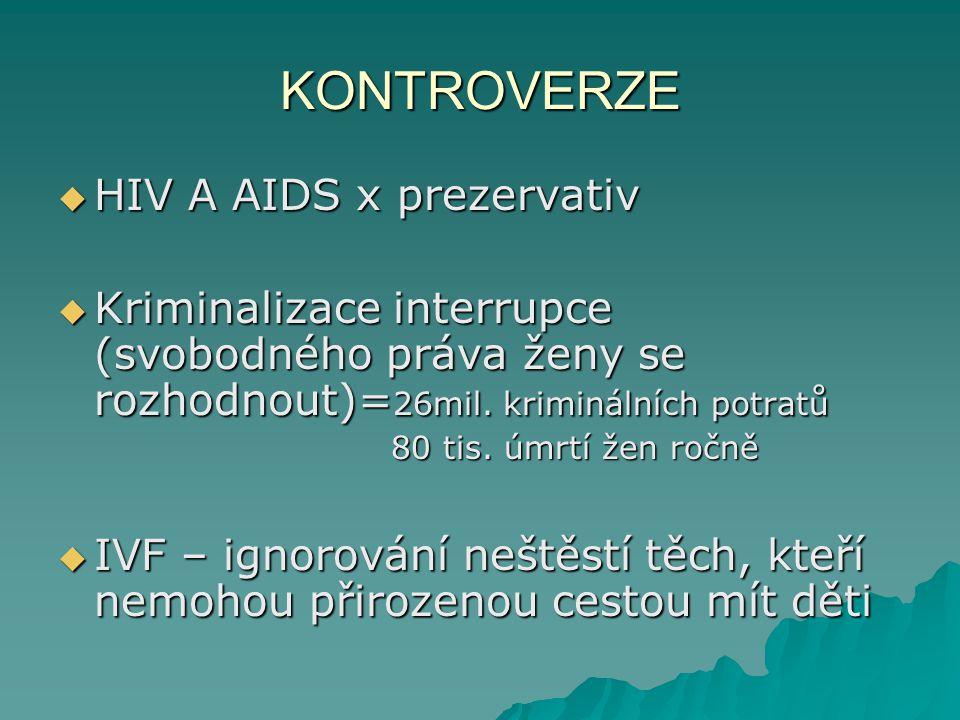 KONTROVERZE  HIV A AIDS x prezervativ  Kriminalizace interrupce (svobodného práva ženy se rozhodnout)= 26mil. kriminálních potratů 80 tis. úmrtí žen
