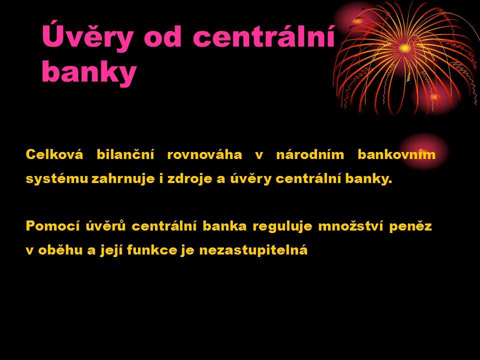 Úvěry od centrální banky Pomocí úvěrů centrální banka reguluje množství peněz v oběhu a její funkce je nezastupitelná Celková bilanční rovnováha v nár