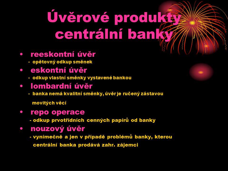 Úvěrové produkty centrální banky • reeskontní úvěr - opětovný odkup směnek • eskontní úvěr - odkup vlastní směnky vystavené bankou • lombardní úvěr -