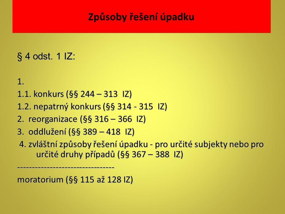 Způsoby řešení úpadku § 4 odst. 1 IZ: 1. 1.1. konkurs (§§ 244 – 313 IZ) 1.2. nepatrný konkurs (§§ 314 - 315 IZ) 2. reorganizace (§§ 316 – 366 IZ) 3. o