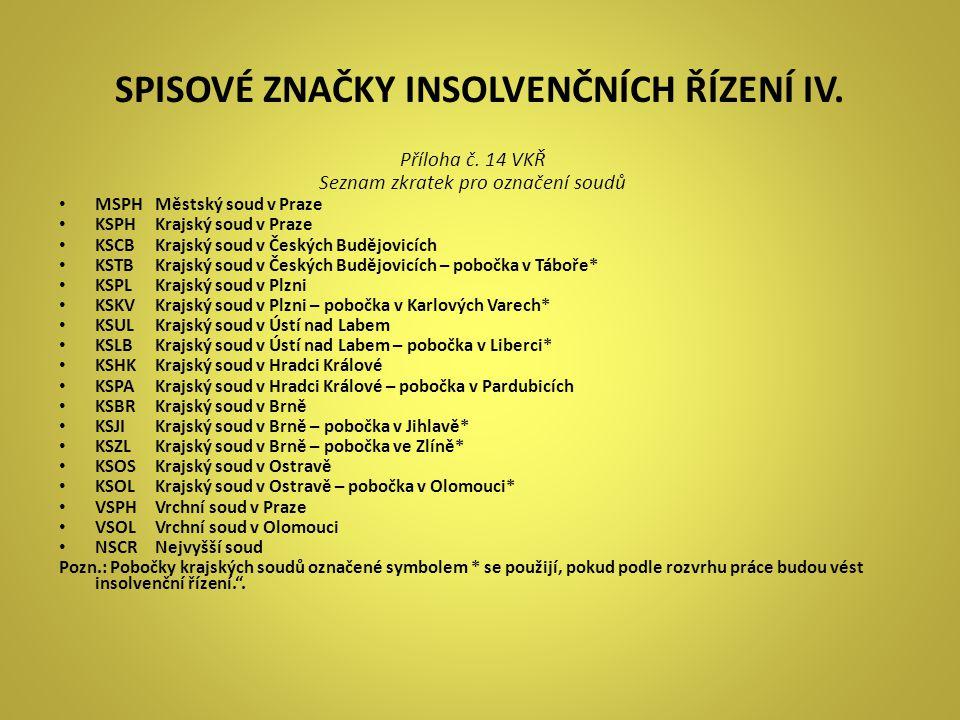 SPISOVÉ ZNAČKY INSOLVENČNÍCH ŘÍZENÍ IV. Příloha č. 14 VKŘ Seznam zkratek pro označení soudů • MSPHMěstský soud v Praze • KSPHKrajský soud v Praze • KS