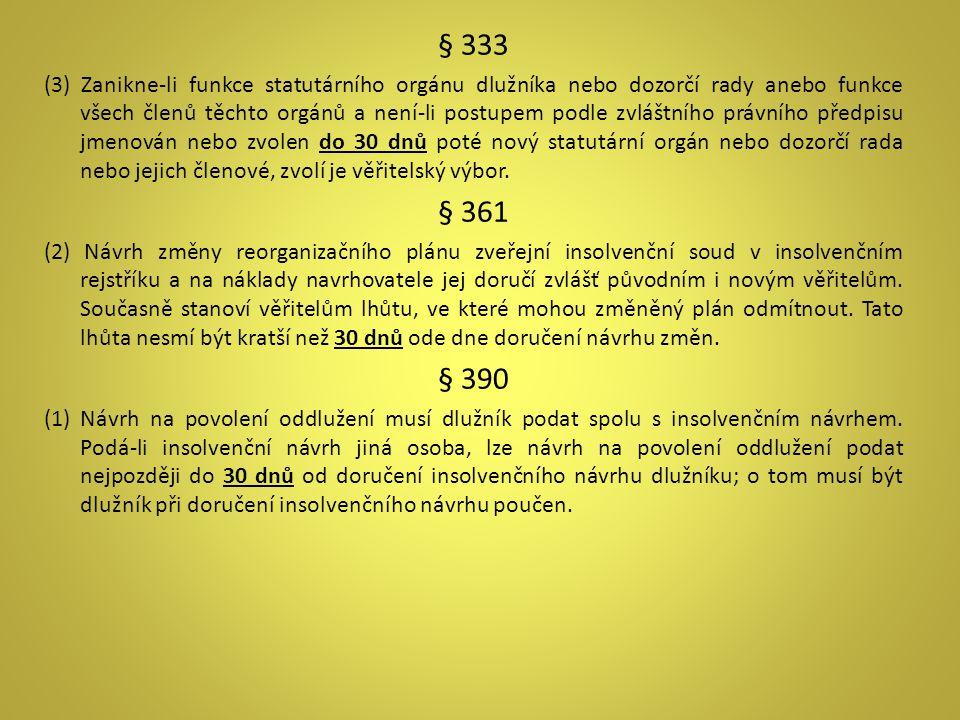 § 333 (3) Zanikne-li funkce statutárního orgánu dlužníka nebo dozorčí rady anebo funkce všech členů těchto orgánů a není-li postupem podle zvláštního