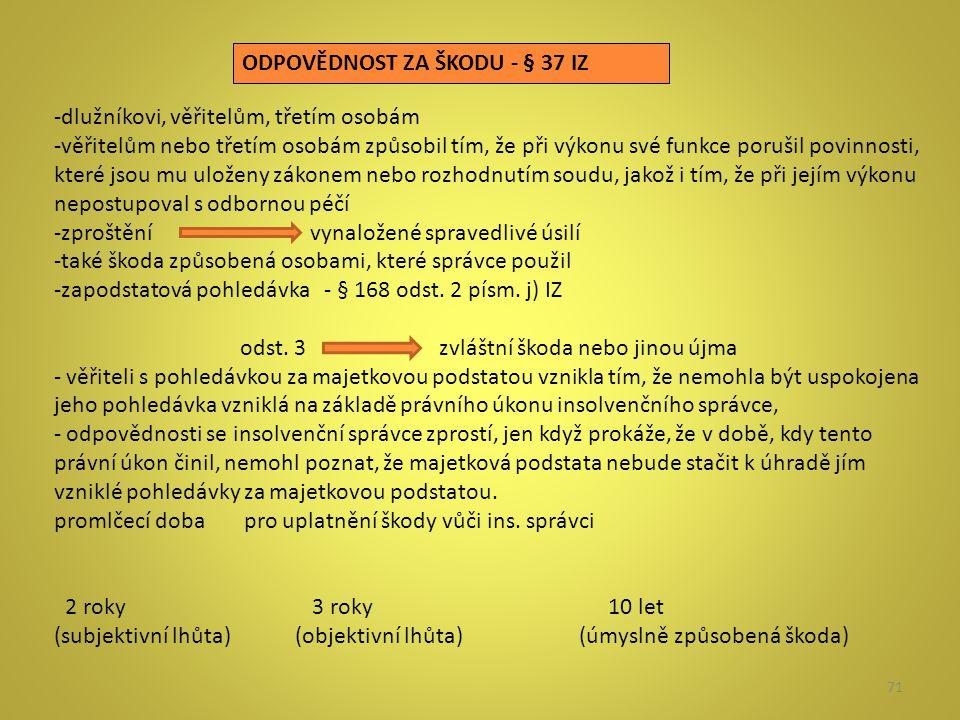 71 ODPOVĚDNOST ZA ŠKODU - § 37 IZ -dlužníkovi, věřitelům, třetím osobám -věřitelům nebo třetím osobám způsobil tím, že při výkonu své funkce porušil p