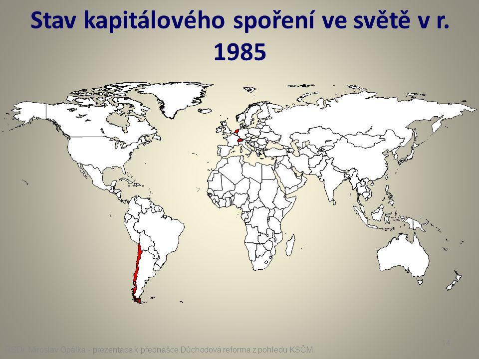 Stav kapitálového spoření ve světě v r. 1985 RSDr. Miroslav Opálka - prezentace k přednášce Důchodová reforma z pohledu KSČM 14