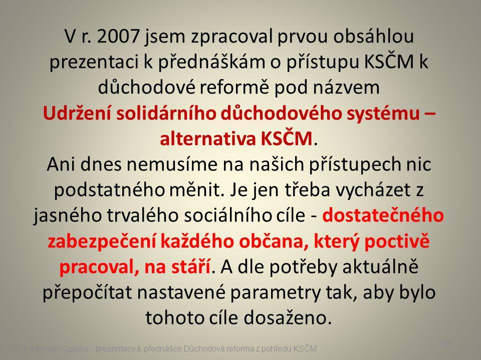 V r. 2007 jsem zpracoval prvou obsáhlou prezentaci k přednáškám o přístupu KSČM k důchodové reformě pod názvem Udržení solidárního důchodového systému