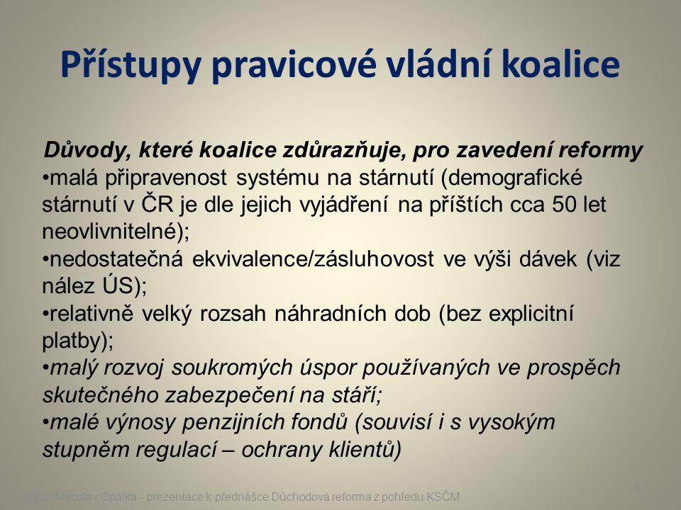 Přístupy pravicové vládní koalice RSDr. Miroslav Opálka - prezentace k přednášce Důchodová reforma z pohledu KSČM 9 Důvody, které koalice zdůrazňuje,