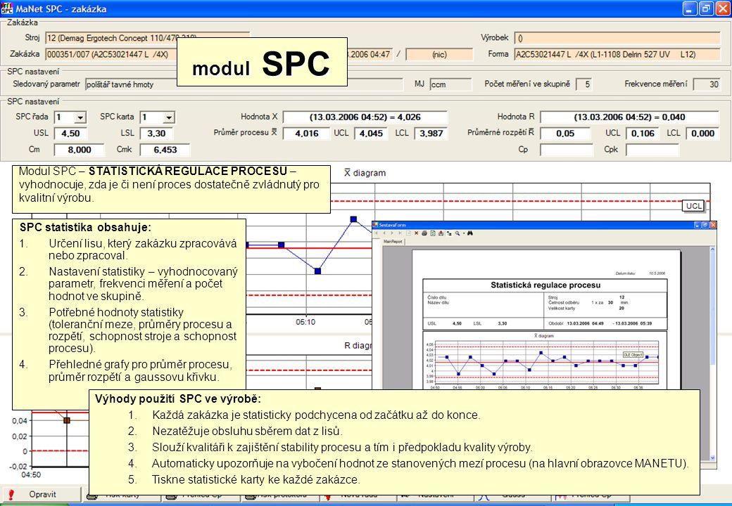 Modul SPC – STATISTICKÁ REGULACE PROCESU – vyhodnocuje, zda je či není proces dostatečně zvládnutý pro kvalitní výrobu. modul SPC SPC statistika obsah