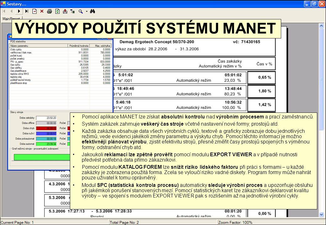 •Pomocí aplikace MANET lze získat absolutní kontrolu nad výrobním procesem a prací zaměstnanců. •Systém zakázek zahrnuje veškerý čas stroje včetně nas