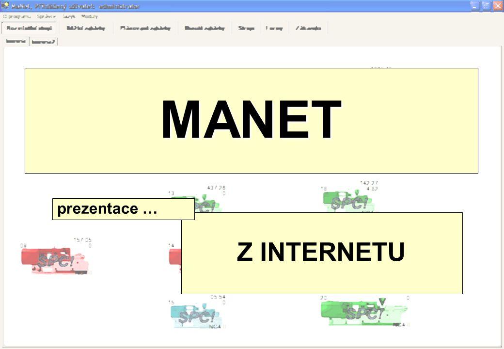 Systém MANET: •Je aplikace vyvinutá společností MAPRO pro sledování a vyhodnocování chodu vstřikovacích lisů firmy DEMAG PlasticGroup od řady NC4 (systémy IBED a ErgoControl).