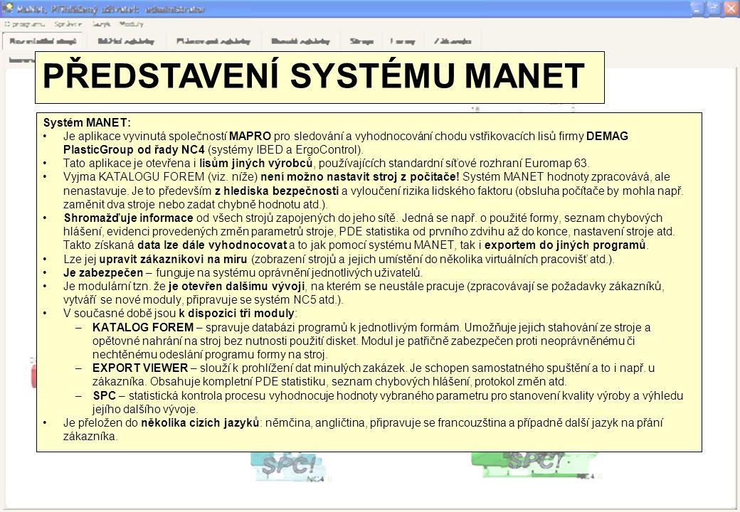 Systém MANET: •Je aplikace vyvinutá společností MAPRO pro sledování a vyhodnocování chodu vstřikovacích lisů firmy DEMAG PlasticGroup od řady NC4 (sys