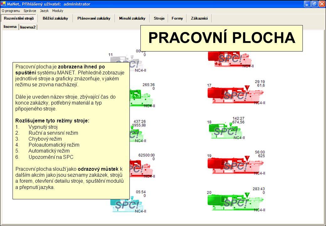 DETAIL STROJE Detail stroje obsahuje informace o: 1.právě zpracovávané zakázce 2.použité formě 3.výpočty potřebného času a materiálu 4.PDE statistiku od prvního zdvihu 5.nastavení parametrů stroje 6.grafické znázornění teplot vstřikovacích jednotek 7.archiv provedených změn na stroji (všech parametrů) 8.protokol chyb, které se na stroji objevily 9.a v neposlední řadě také seznam zakázek, jež daný stroj zpracoval Všechny tyto informace jsou k dispozici pomocí přehledných záložek.