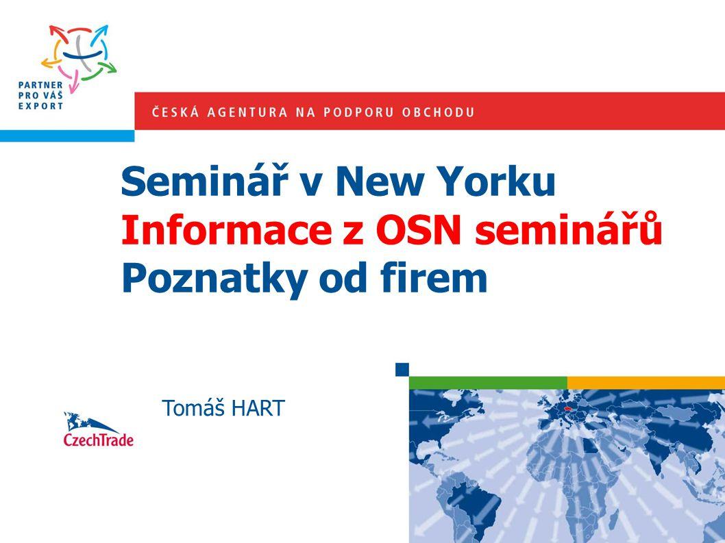 Seminář v New Yorku Informace z OSN seminářů Poznatky od firem Tomáš HART
