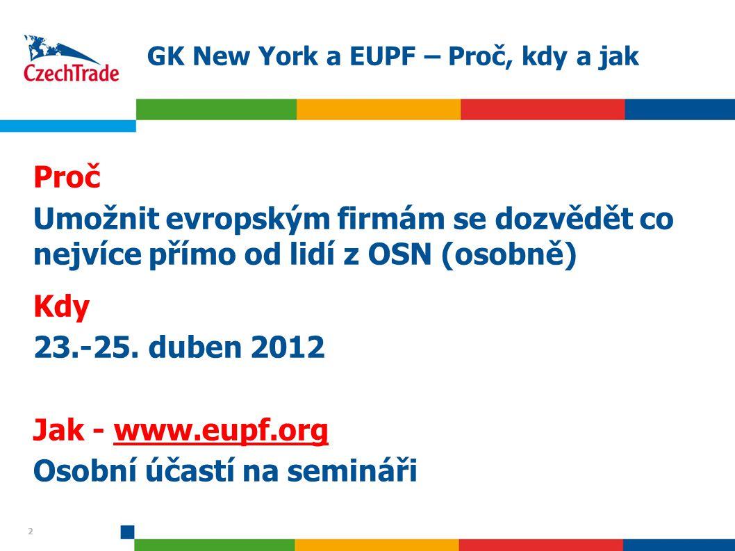2 22 GK New York a EUPF – Proč, kdy a jak Proč Umožnit evropským firmám se dozvědět co nejvíce přímo od lidí z OSN (osobně) Kdy 23.-25. duben 2012 Jak