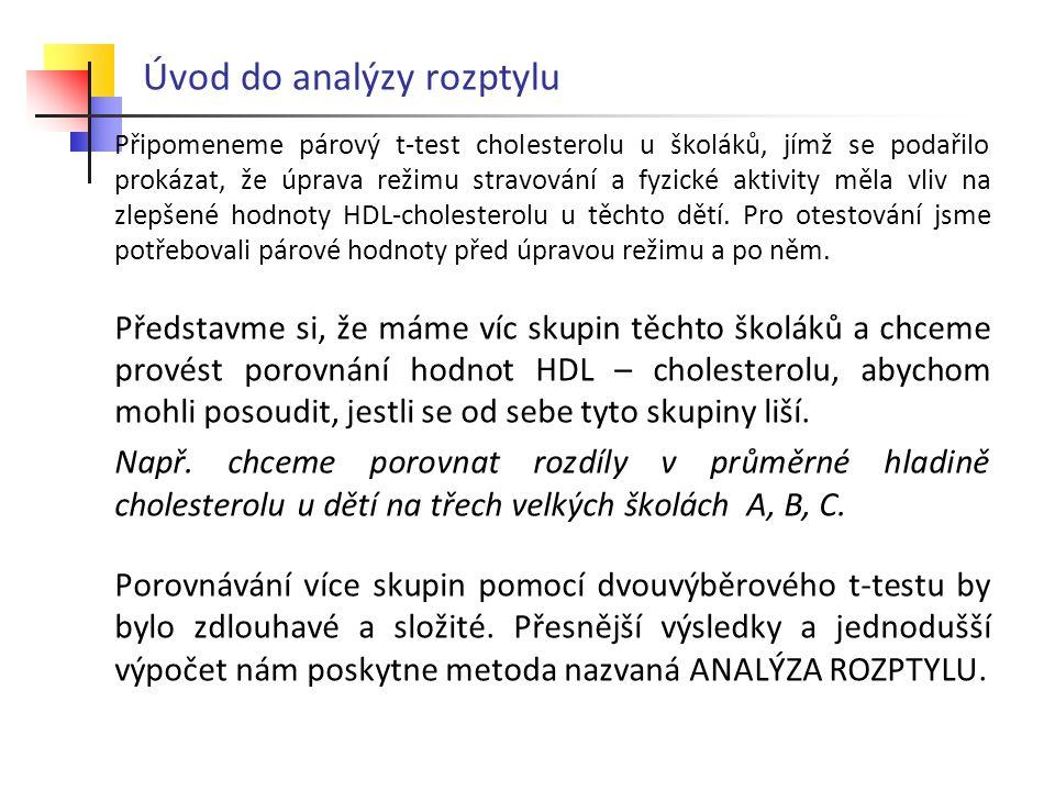 Úvod do analýzy rozptylu Připomeneme párový t-test cholesterolu u školáků, jímž se podařilo prokázat, že úprava režimu stravování a fyzické aktivity m