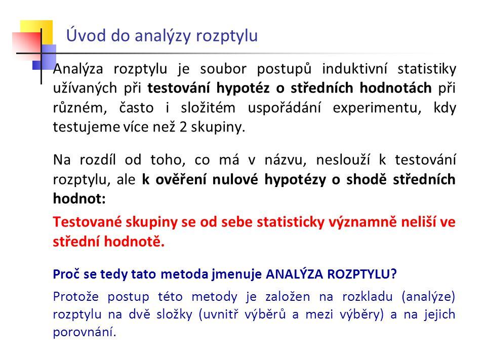 ANALÝZA ROZPTYLU - výpočet Variabilitu mezi skupinami vyjádříme jako SOUČET ČTVERCŮ SS m : Σ ( (průměr skupiny - celkový průměr) 2 * počet měření )  Střední hodnota ze všech hodnot = 4  (2-4) 2 *5+(3-4) 2 *5+ (7-4) 2 *5 = 20 + 5 + 45 = 70 … SS m = 70 Variabilitu uvnitř skupin vyjádříme jako SOUČET ČTVERCŮ SS u : Σ ( (hodnota - výběrový průměr) 2 ) 1.0+1+1+1+1 = 4 2.0+1+0+4+9 = 14 3.1+1+0+9+9 = 20 … celkem SS u = 38 Celkový součet čtverců je 108 (SS = 108) z toho 70způsobil rozdílmezi výběry (SS m = 70) a 38 uvnitř výběrů(SS u = 38)