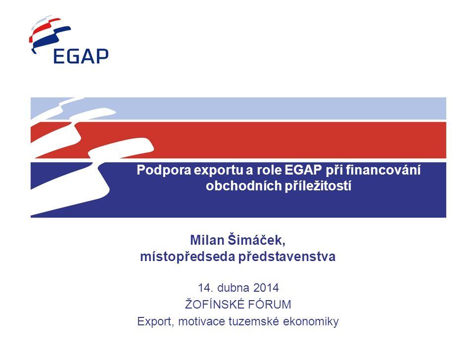 Podpora exportu a role EGAP při financování obchodních příležitostí Milan Šimáček, místopředseda představenstva 14. dubna 2014 ŽOFÍNSKÉ FÓRUM Export,