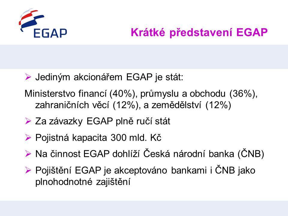Krátké představení EGAP  Jediným akcionářem EGAP je stát: Ministerstvo financí (40%), průmyslu a obchodu (36%), zahraničních věcí (12%), a zemědělstv