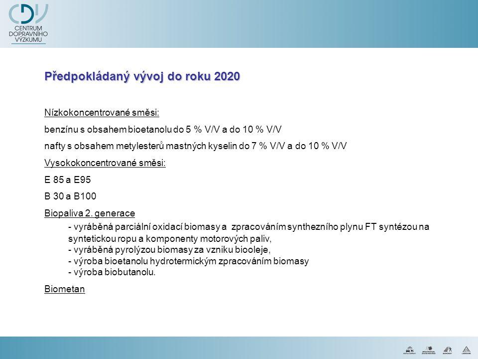 Předpokládaný vývoj do roku 2020 Nízkokoncentrované směsi: benzínu s obsahem bioetanolu do 5 % V/V a do 10 % V/V nafty s obsahem metylesterů mastných kyselin do 7 % V/V a do 10 % V/V Vysokokoncentrované směsi: E 85 a E95 B 30 a B100 Biopaliva 2.