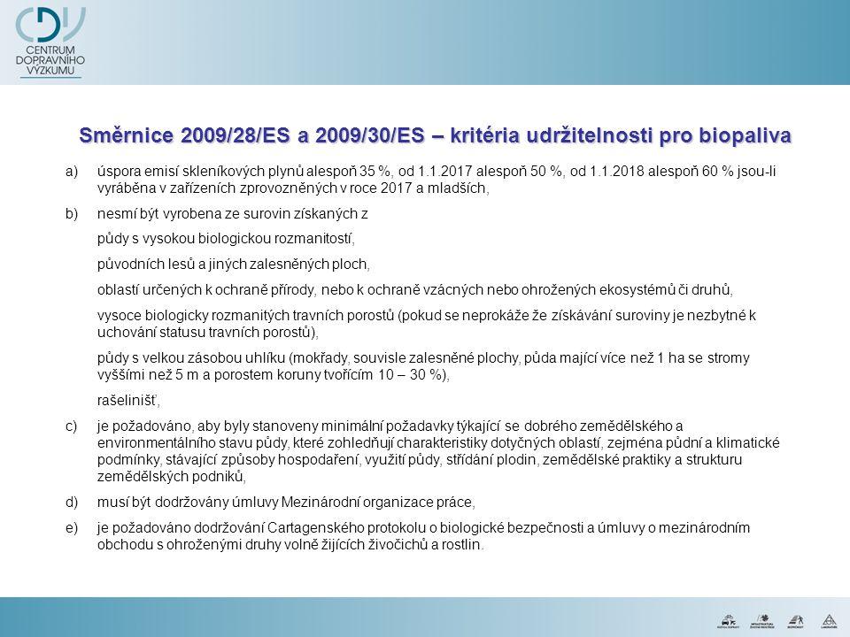 Směrnice 2009/28/ESa 2009/30/ES – kritéria udržitelnosti pro biopaliva Směrnice 2009/28/ES a 2009/30/ES – kritéria udržitelnosti pro biopaliva a)úspor