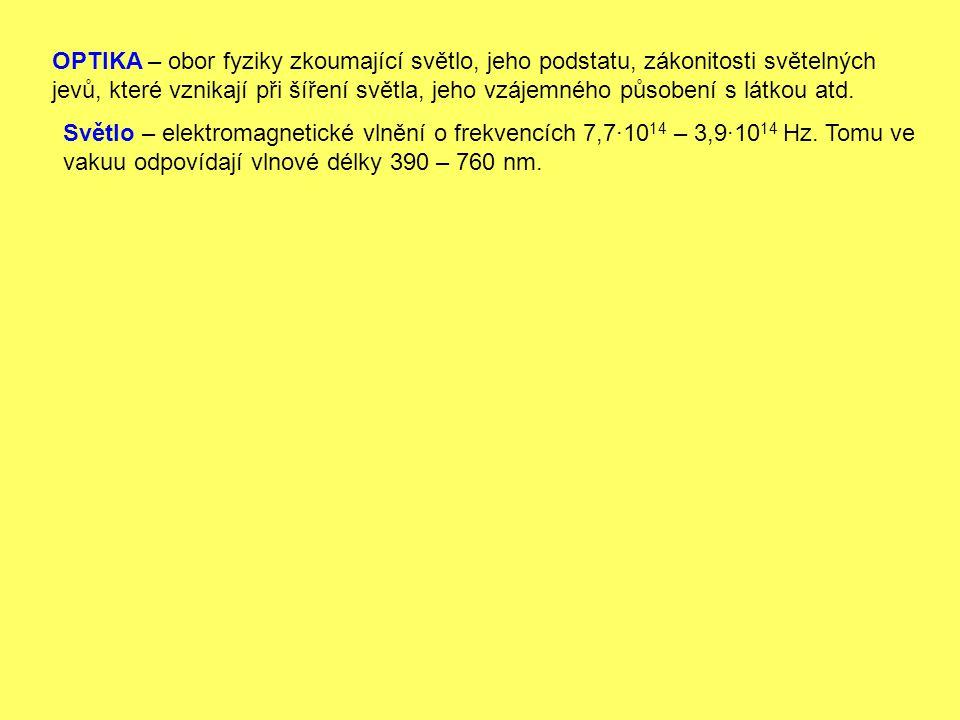 Světlo – elektromagnetické vlnění o frekvencích 7,7·10 14 – 3,9·10 14 Hz. Tomu ve vakuu odpovídají vlnové délky 390 – 760 nm.