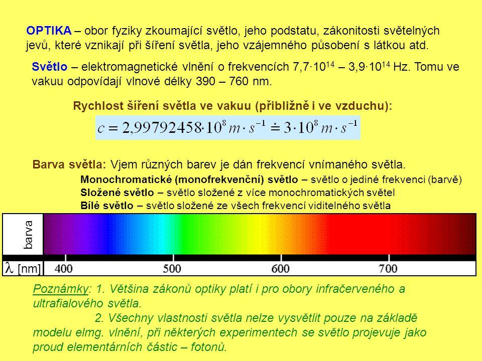 OPTIKA – obor fyziky zkoumající světlo, jeho podstatu, zákonitosti světelných jevů, které vznikají při šíření světla, jeho vzájemného působení s látko