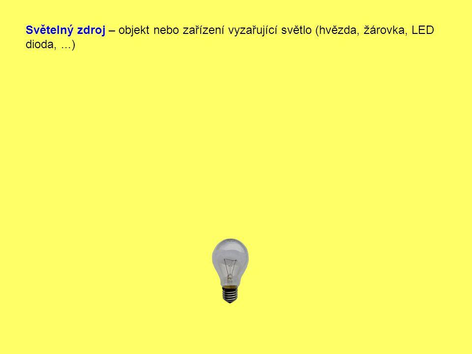 Světelný zdroj – objekt nebo zařízení vyzařující světlo (hvězda, žárovka, LED dioda,...)