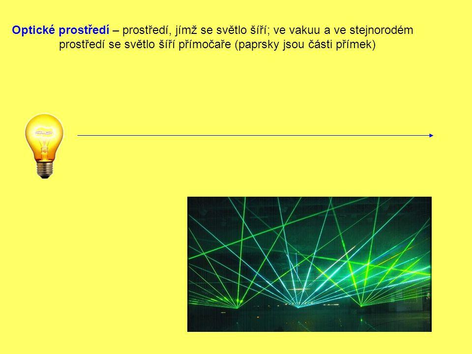 Optické prostředí – prostředí, jímž se světlo šíří; ve vakuu a ve stejnorodém prostředí se světlo šíří přímočaře (paprsky jsou části přímek)